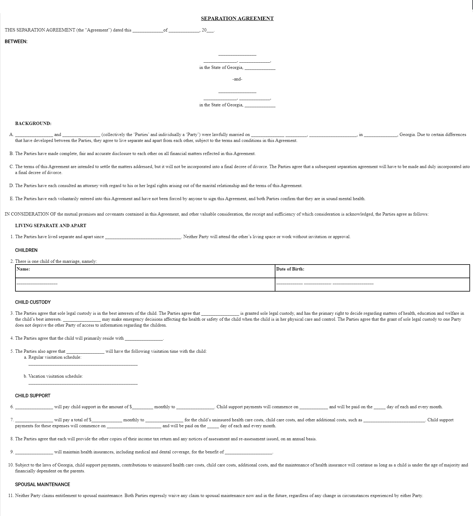 Georgia Marital Separation Legal Agreement Forms GA